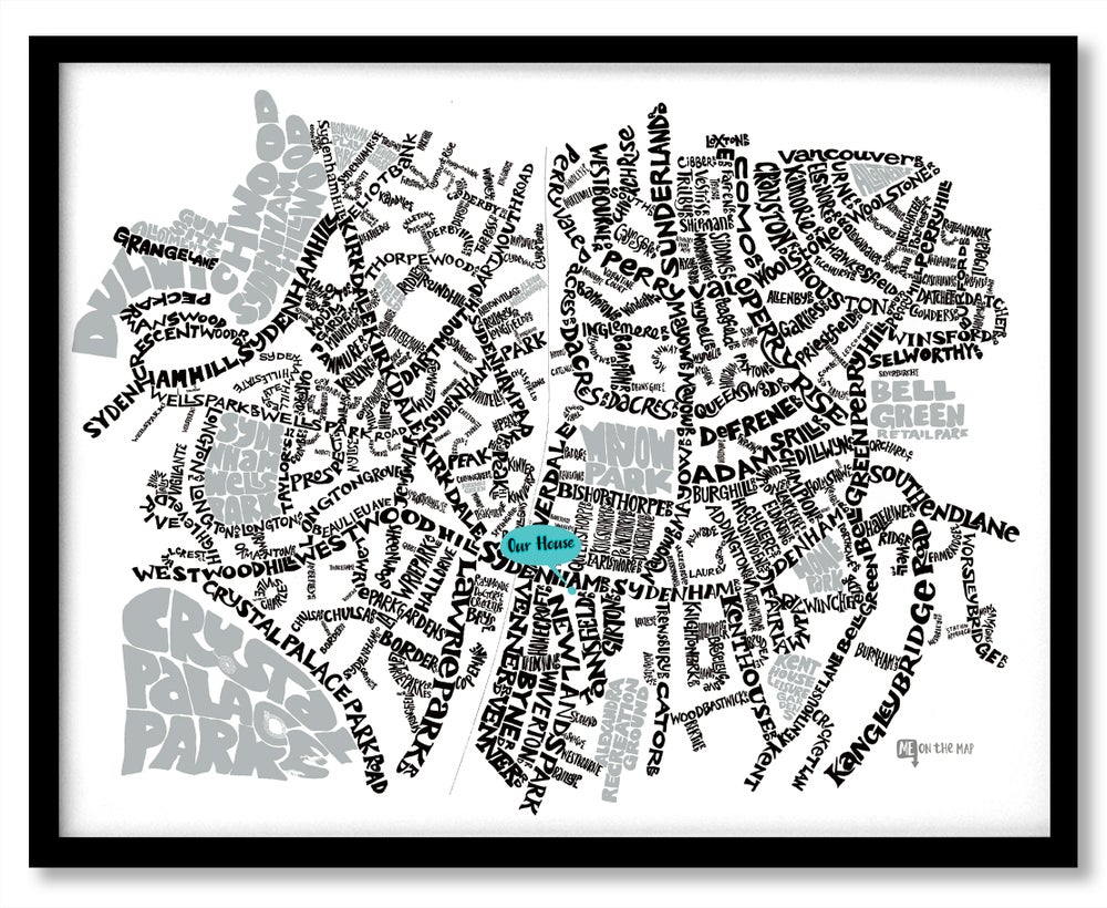 Image of Sydenham SE26 - SE London Type Map - White