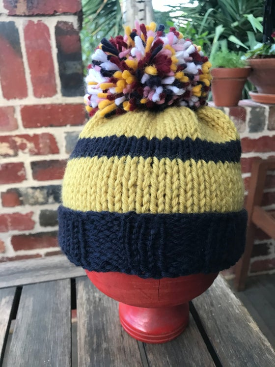 Image of Beanie- yellow/navy wool