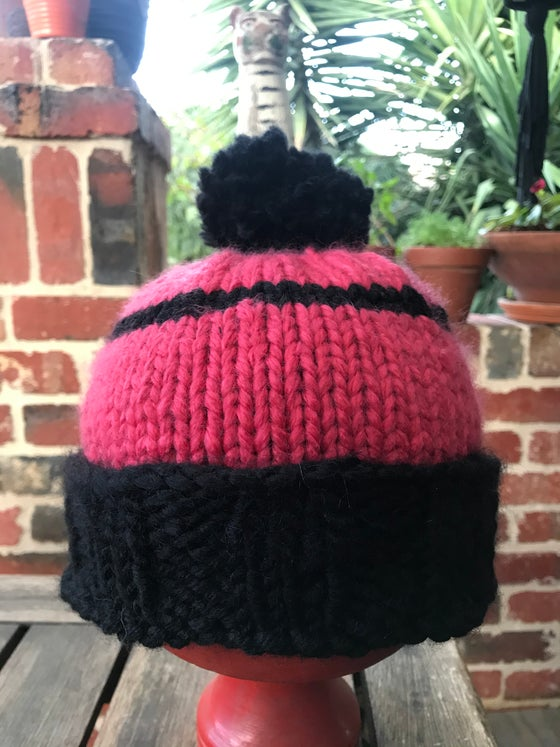 Image of Beanie- pink and black