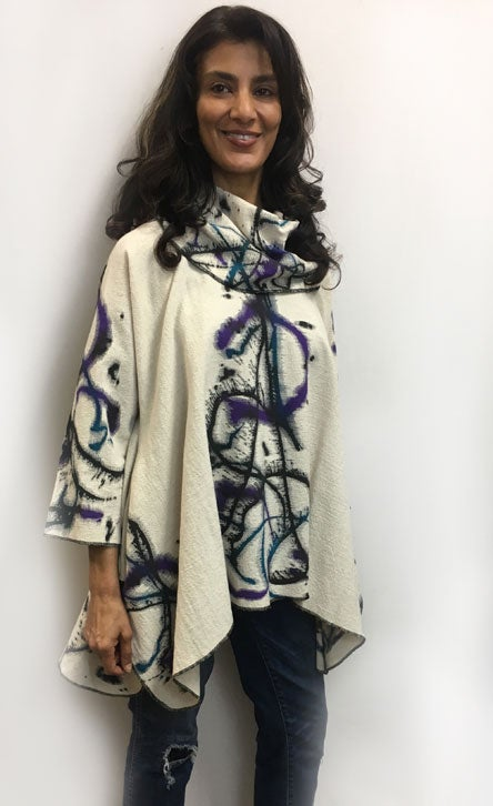 "Image of Joy Tunic - Hand Painted ""Motion"" Design - purple, teal, black on natural"
