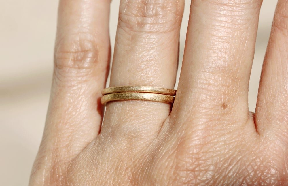 Image of A sweet rustic wedding band. 18k. Simple love. Bean