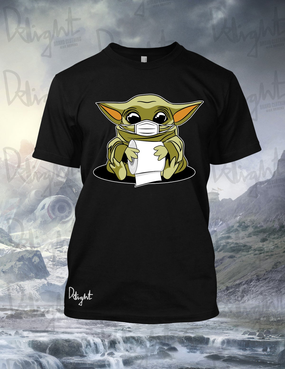 "(Adults & Kids Sizes) Baby Yoda ""CV"" Tee (Black)"