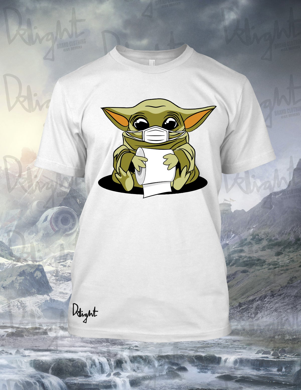 "(Adults & Kids Sizes) Baby Yoda ""CV"" Tee (White)"
