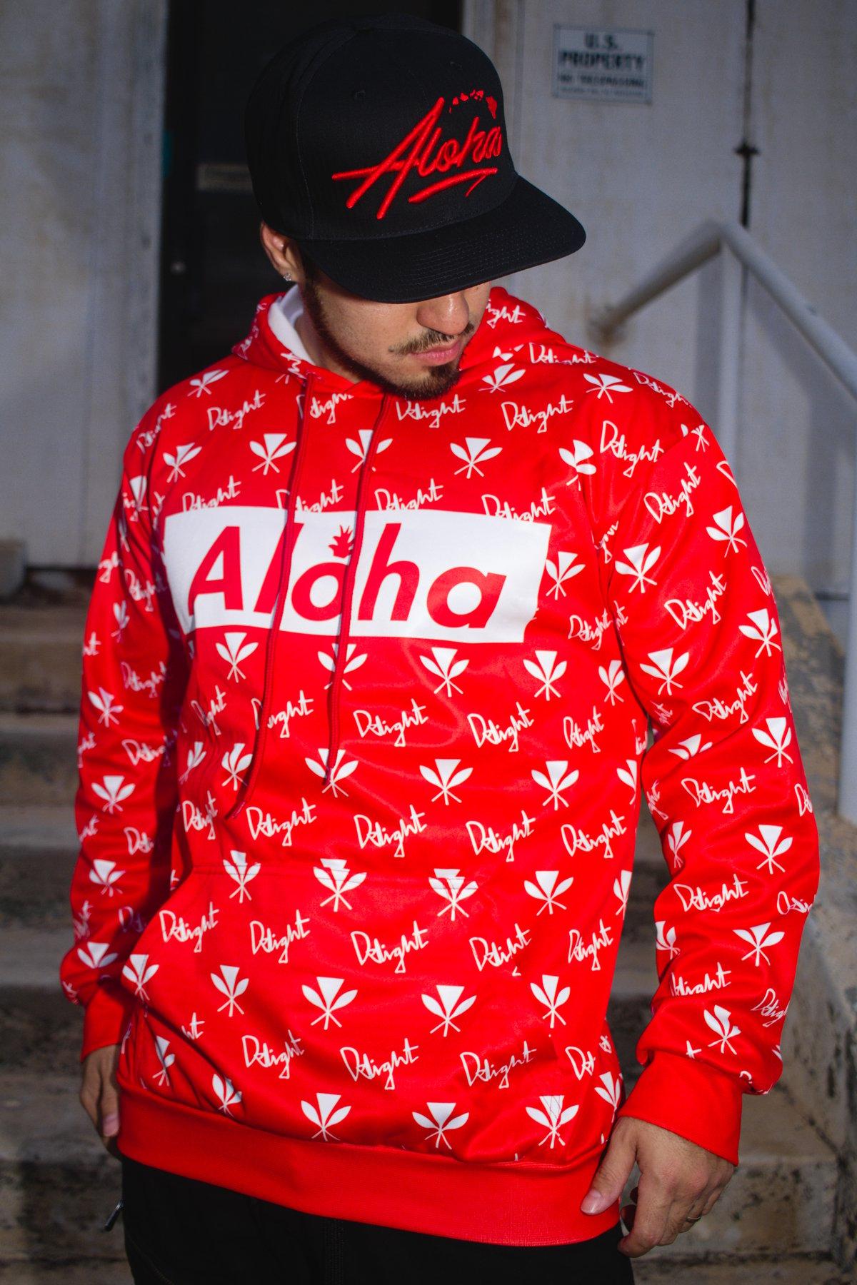 Red Aloha Slapped Hoodie