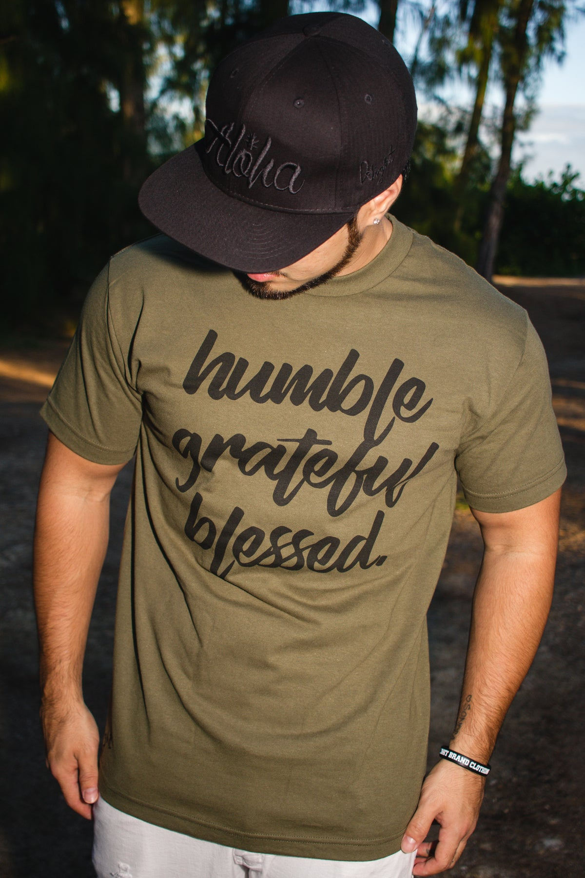 Humble, Grateful, Blessed Tee (Military Green/Black)