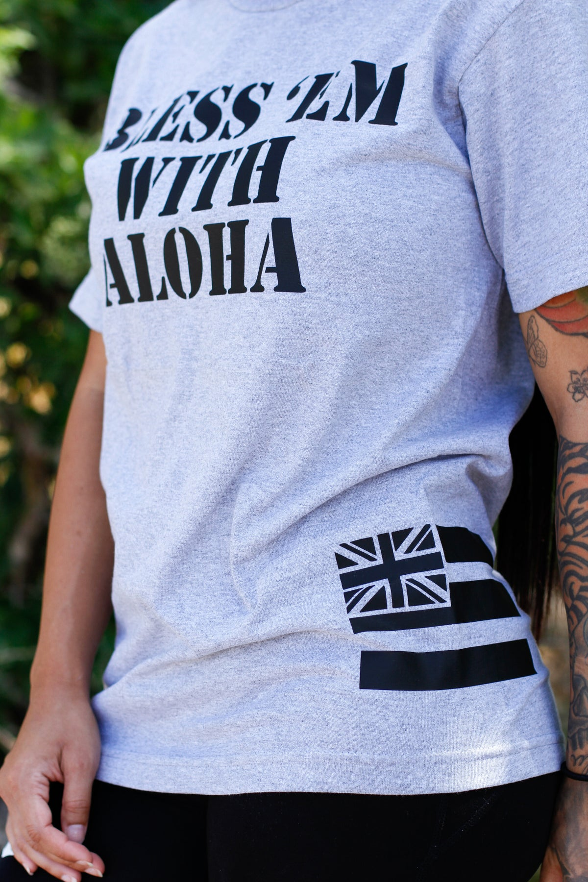 Bless Em With Aloha (Athletic Grey/Black)