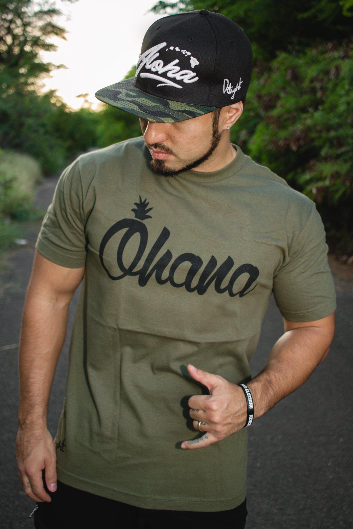 Ohana Pine Tee (Military Green/Black)