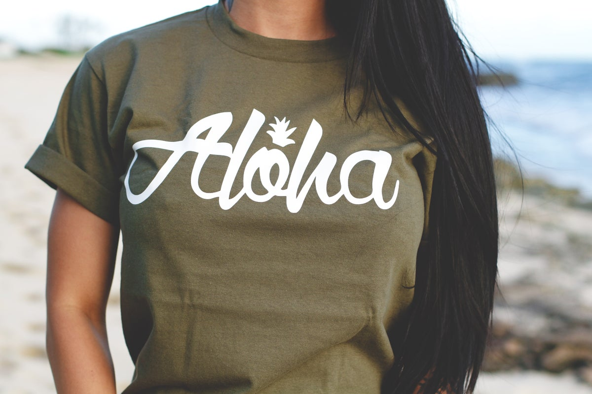 Aloha Pine Tee (Military Green/White)