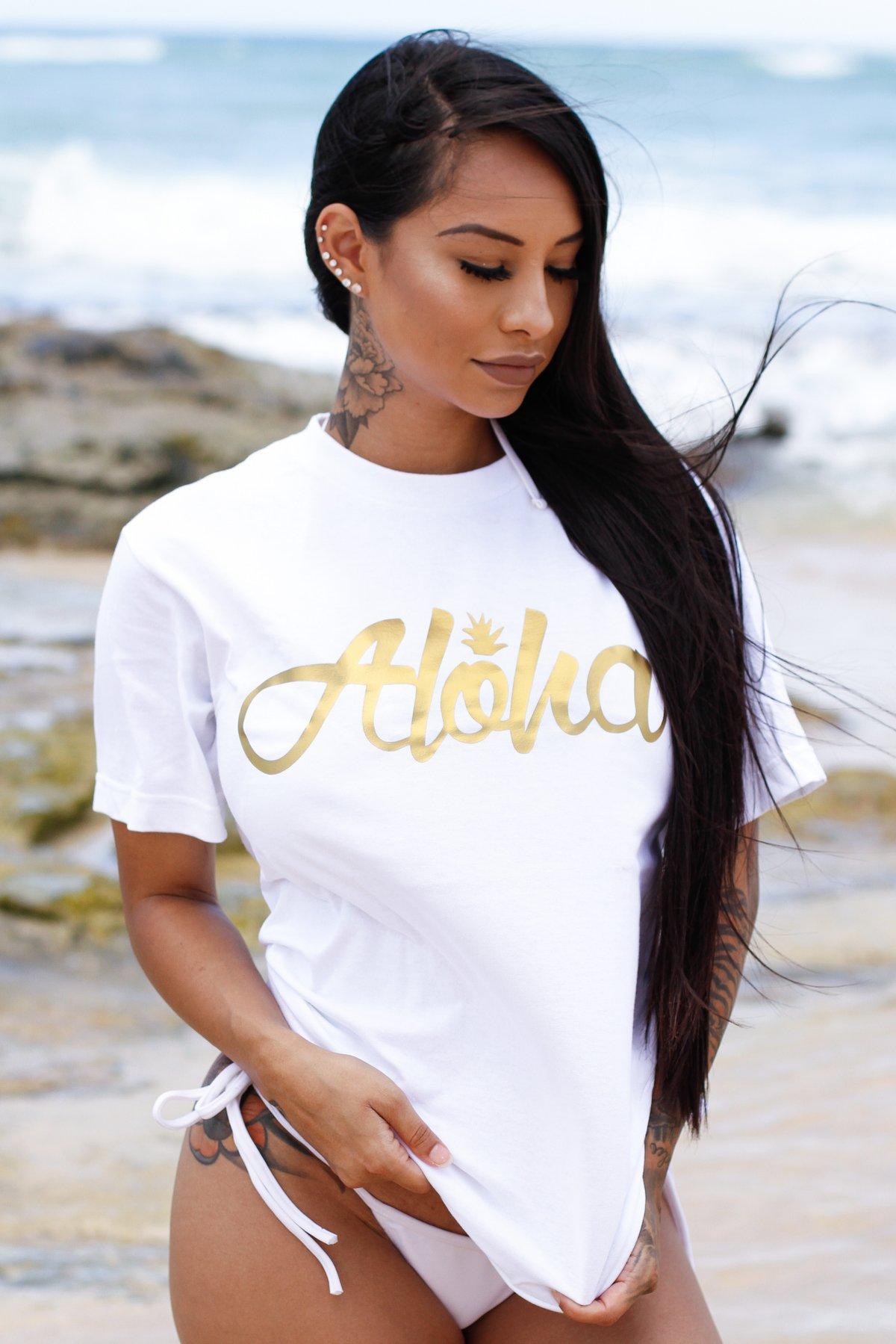 Aloha Pine Tee (White/Gold)