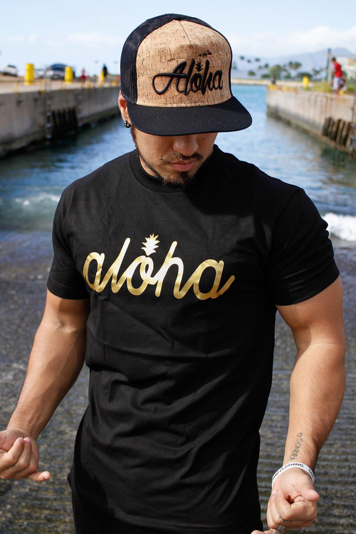 Aloha Script Pine Tee (Black/Gold)