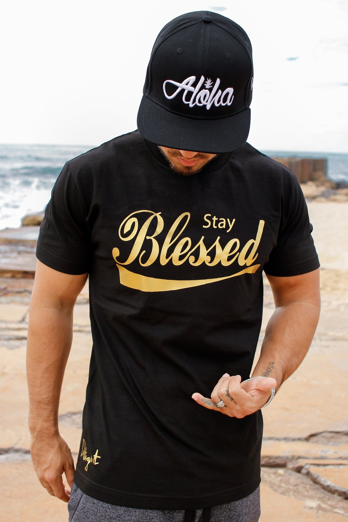 Stay Blessed Tee (Black/Gold)
