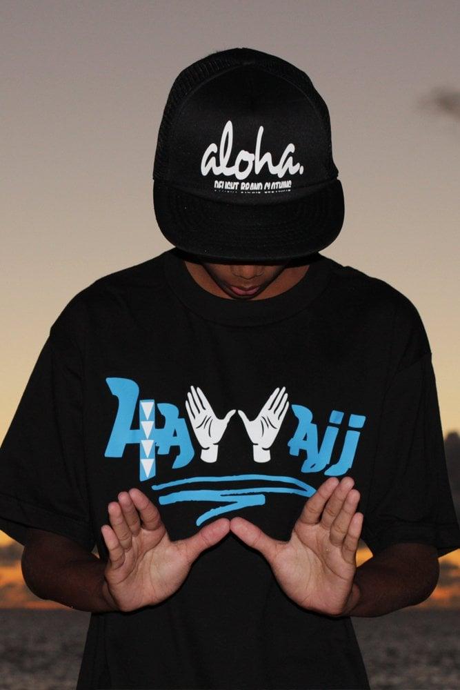 HaWaii Hands Tee (Black/Cyan)