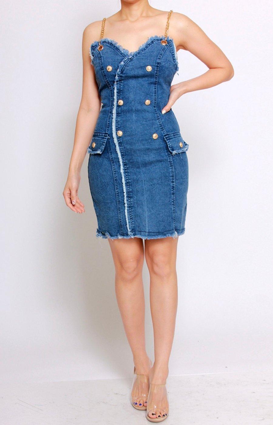 Image of Denim Chain Strap Dress