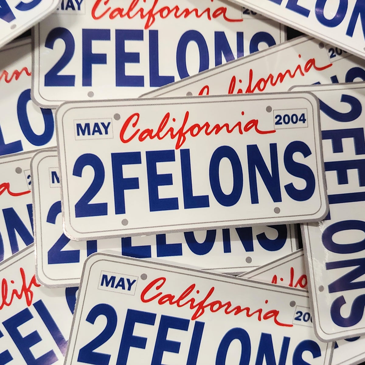 "Two Felons ""CA Plate White"" stickers"