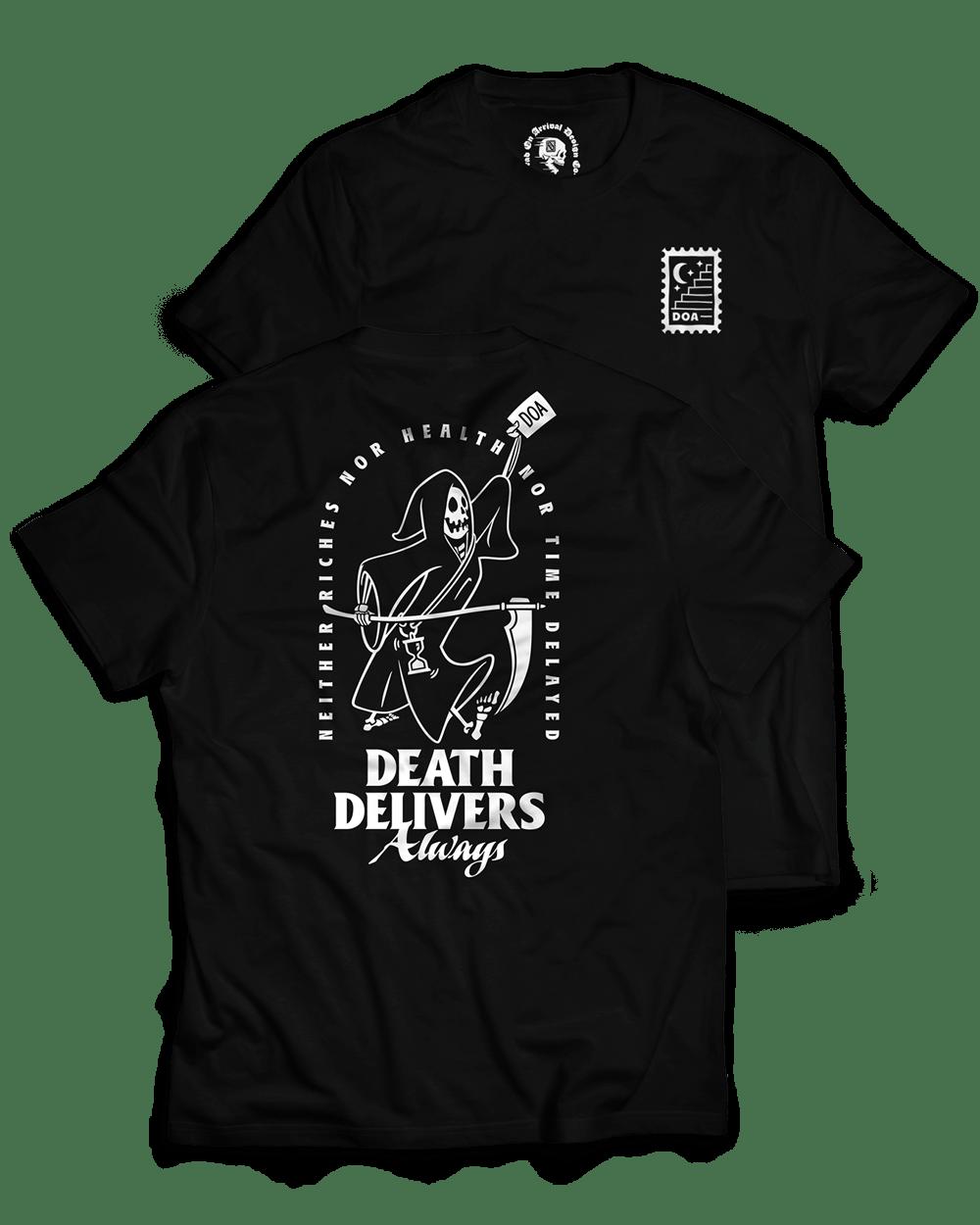 """Death Delivers"" / Graphic Tee, Black"