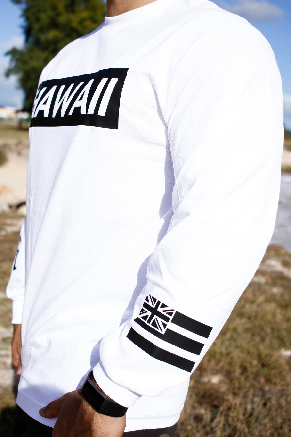 Hawaii Slapped Longsleeve (White)