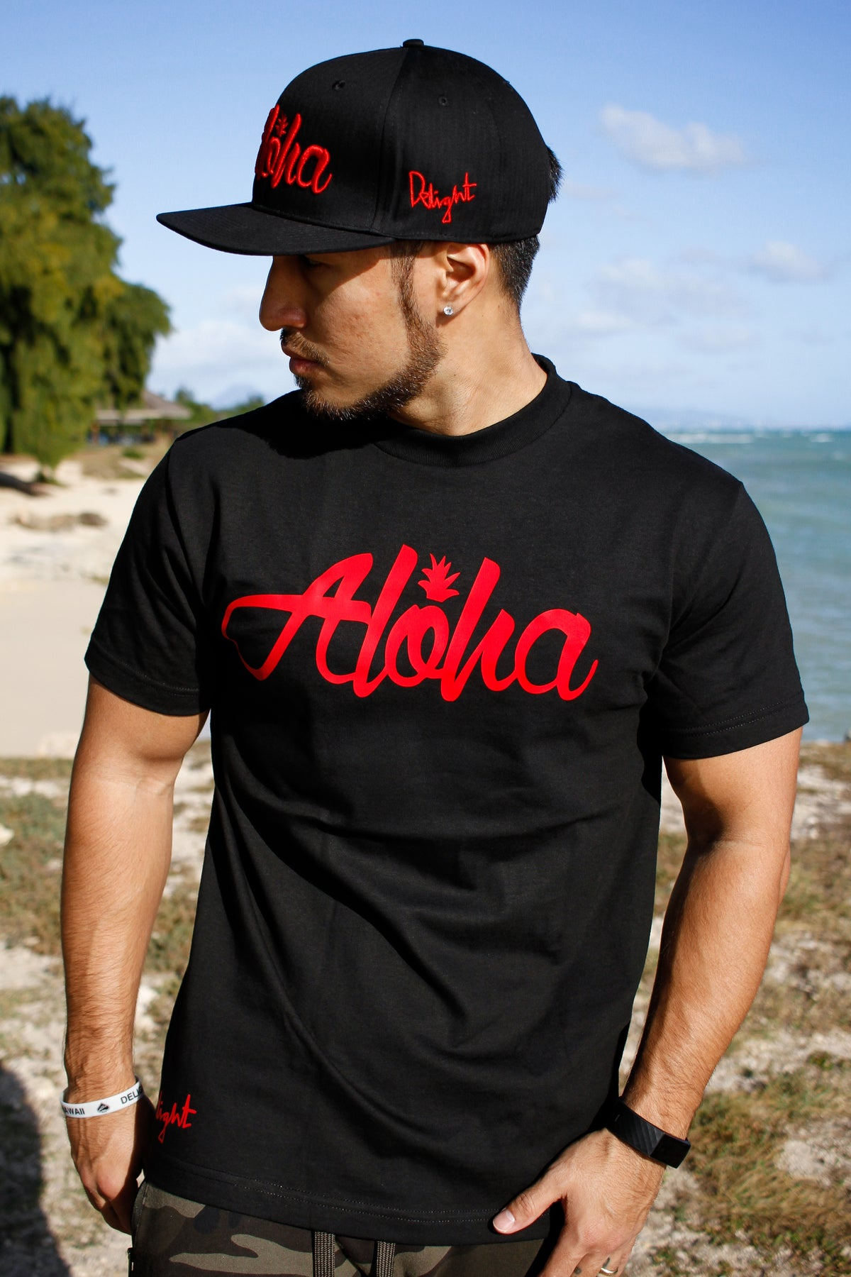 Aloha Pine Tee (Black/Red)