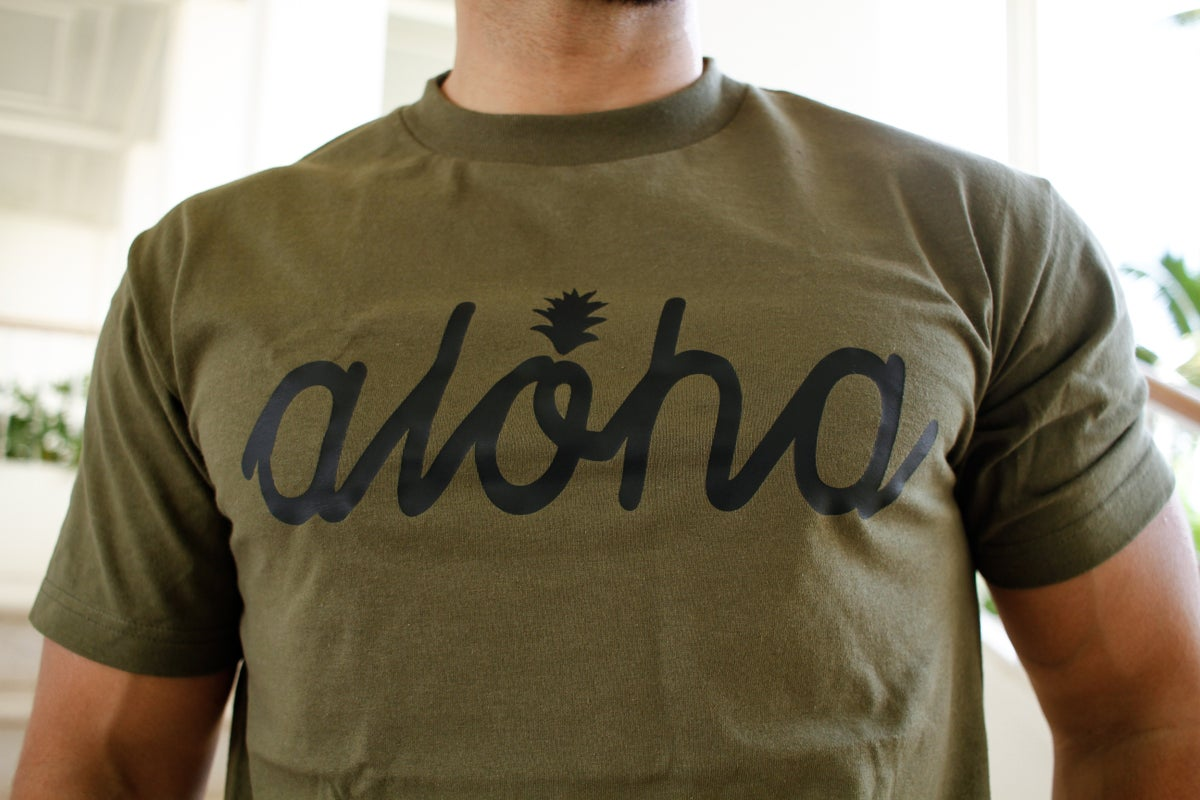 Aloha Script Pine Tee (Military Green/Black)
