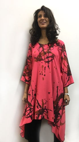 Image of Frida Dress-Tunic, Hand painted, Coral Silky Rayon