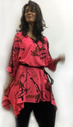 Image of Frida dress-tunic, Hand painted, Coral Rayon