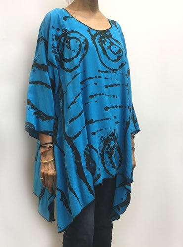 Image of Joy Tunic - turquoise rayon - African inspired hand painted design