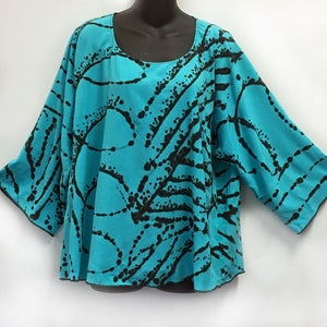 Image of Dale Top - aqua rayon with African inspired hand painted design