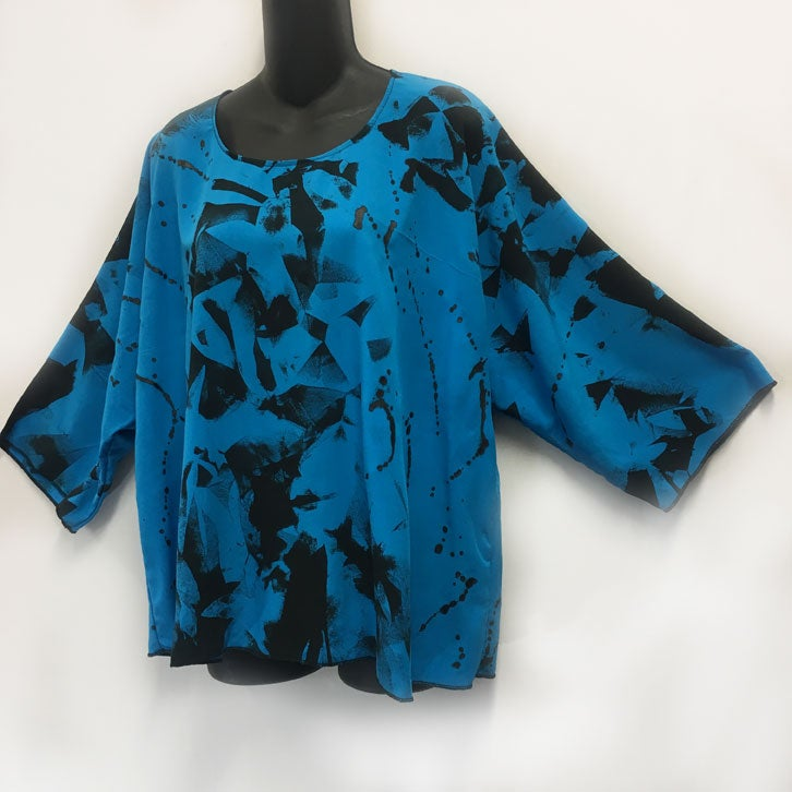 Image of Dale top - Turquoise Rayon - Shibori and free hand