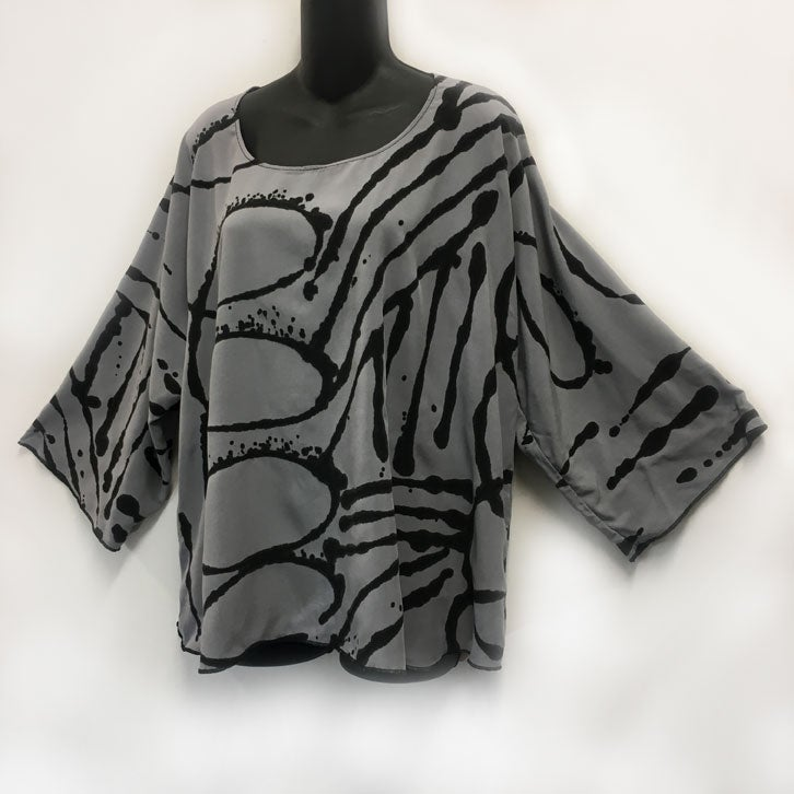 Image of Dale Top - Silver RAyon - Hand Painted African Inspired Design