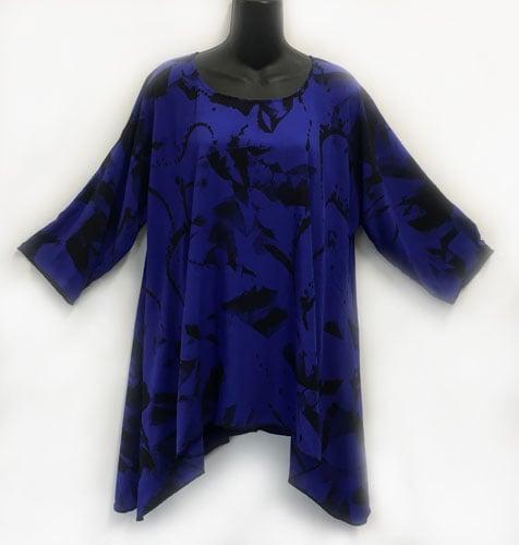 Image of Joy Tunic - Royal Rayon - Shibori and Free Hand
