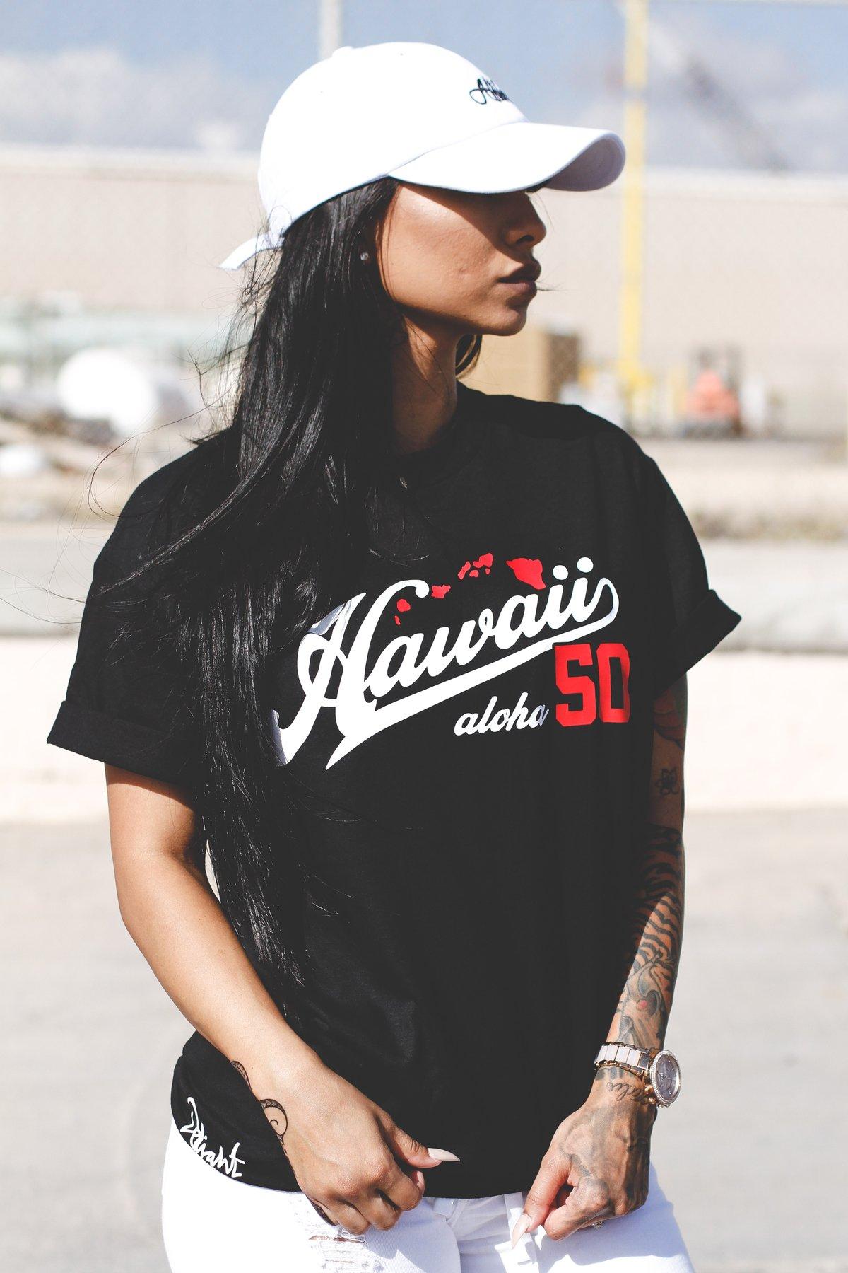 Hawaii Aloha 50 Tee (Black/Red)