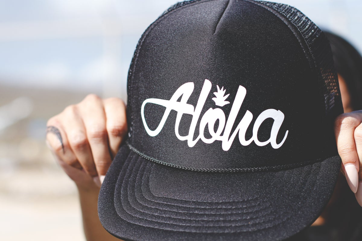 Aloha Pine Trucker Hat (Black/White)