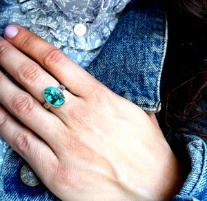 Image of Bague turquoise naturelle du tibet - taille 57.5