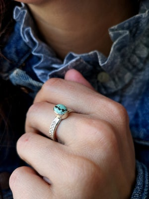 Image of Bague turquoise naturelle du tibet - taille 57