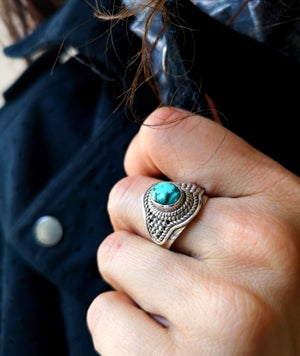 Image of Bague turquoise naturelle du tibet - taille 57-