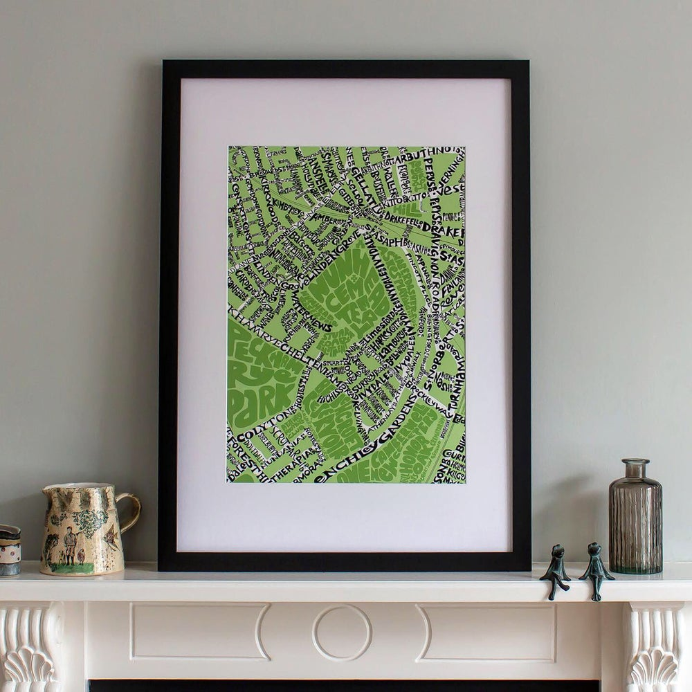 Image of Nunhead SE15 & Telegraph Hill SE14 - SE London Type Map - Various colours