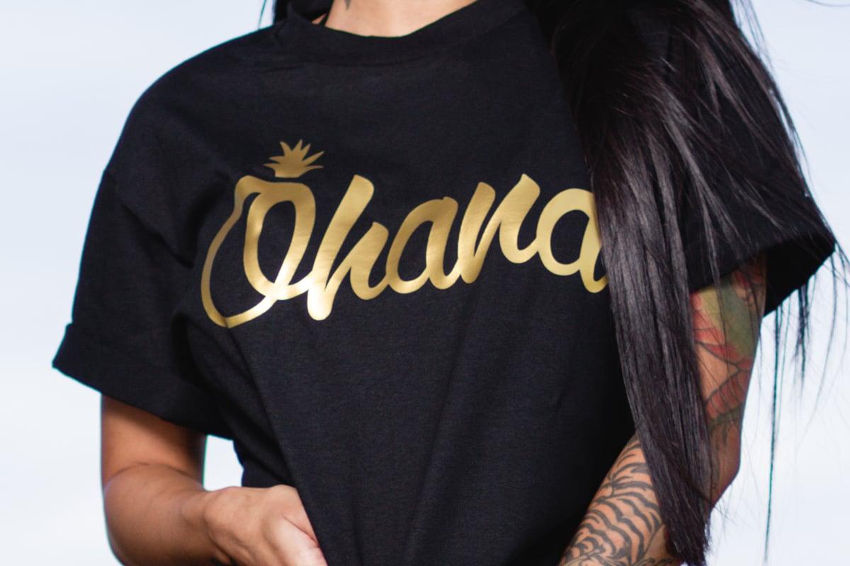 Ohana Pine Tee (Black/Gold)