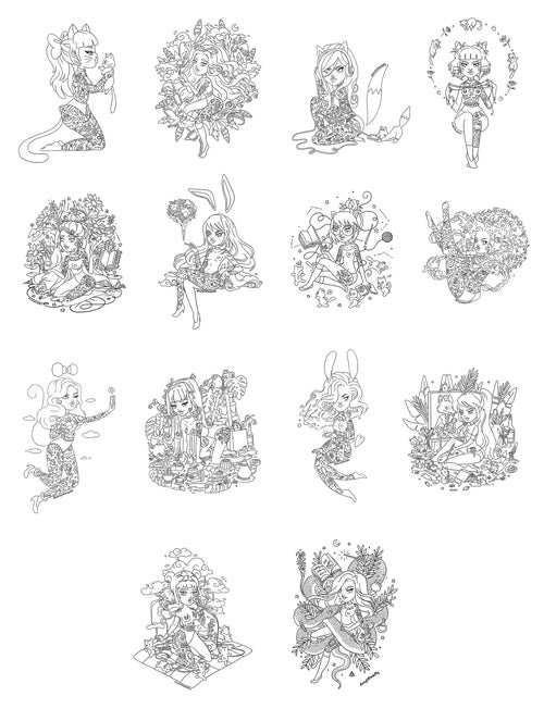Image of Tattooed Ladies Colouring Book Digital Download