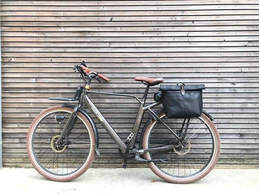 Image of Waxed canvas saddlebag Motorbike bag Motorcycle bag Bicycle bag in waxed canvas Bike accessories