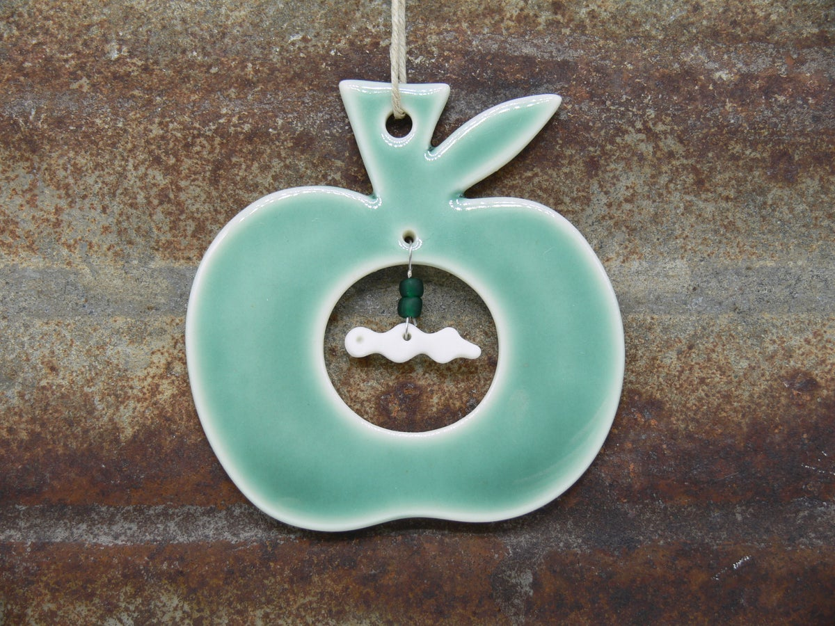 Image of Porcelain Apple and worm decoration