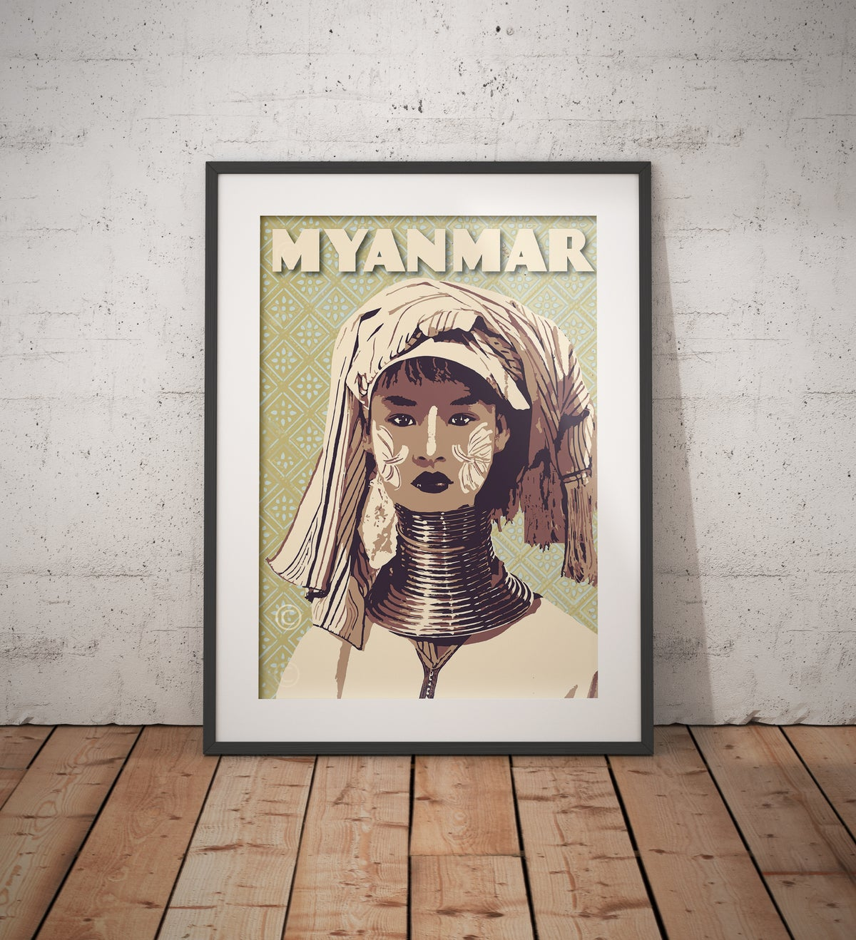 Image of Vintage poster Myanmar - Long Neck Woman Green Chartreuse - Fine Art Print