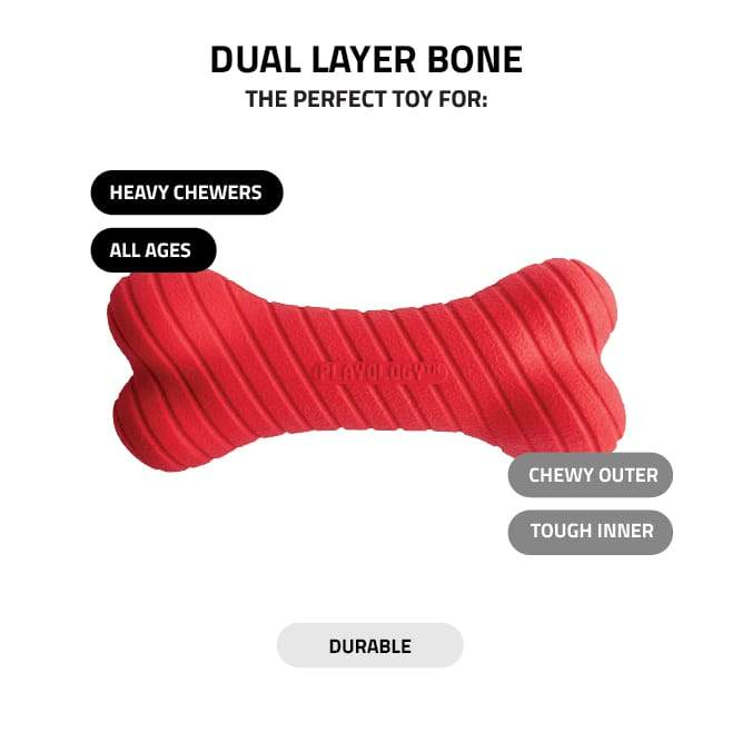 Playology Dual Layer Bones - Scented for moderate to heavy chewers