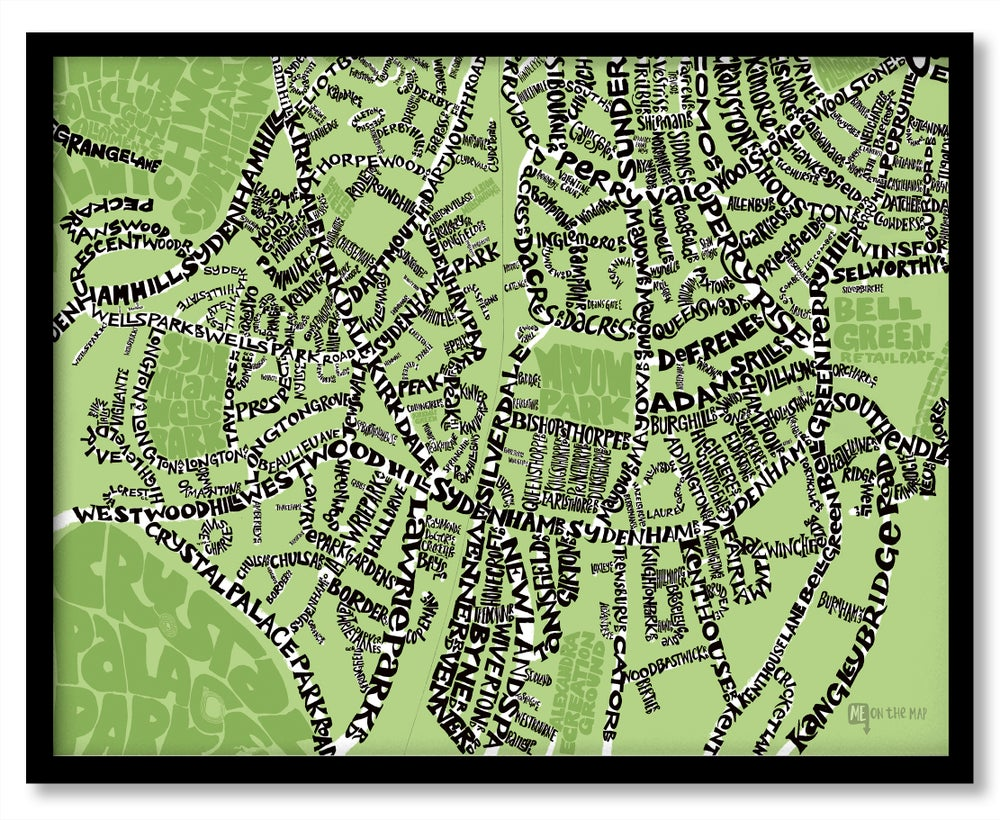 Image of Sydenham SE26 - SE London Type Map - Various colours