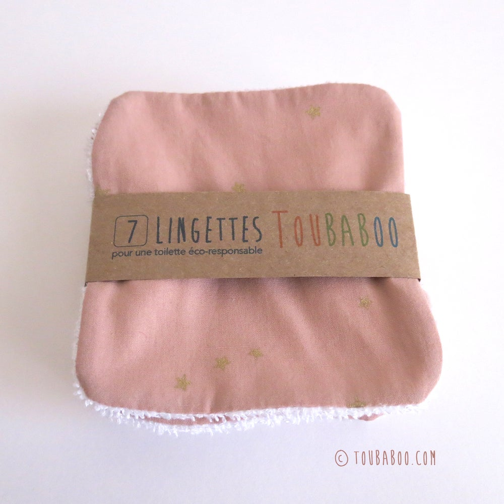 Image of Lingettes étoiles dorées rose