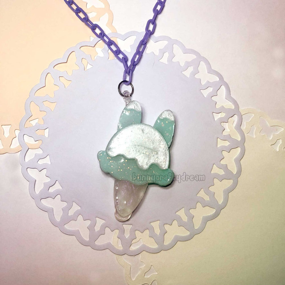 Image of Melting Bunny Ice Cream Necklace