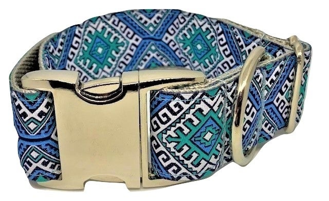 Aztec blue - Dog Collar