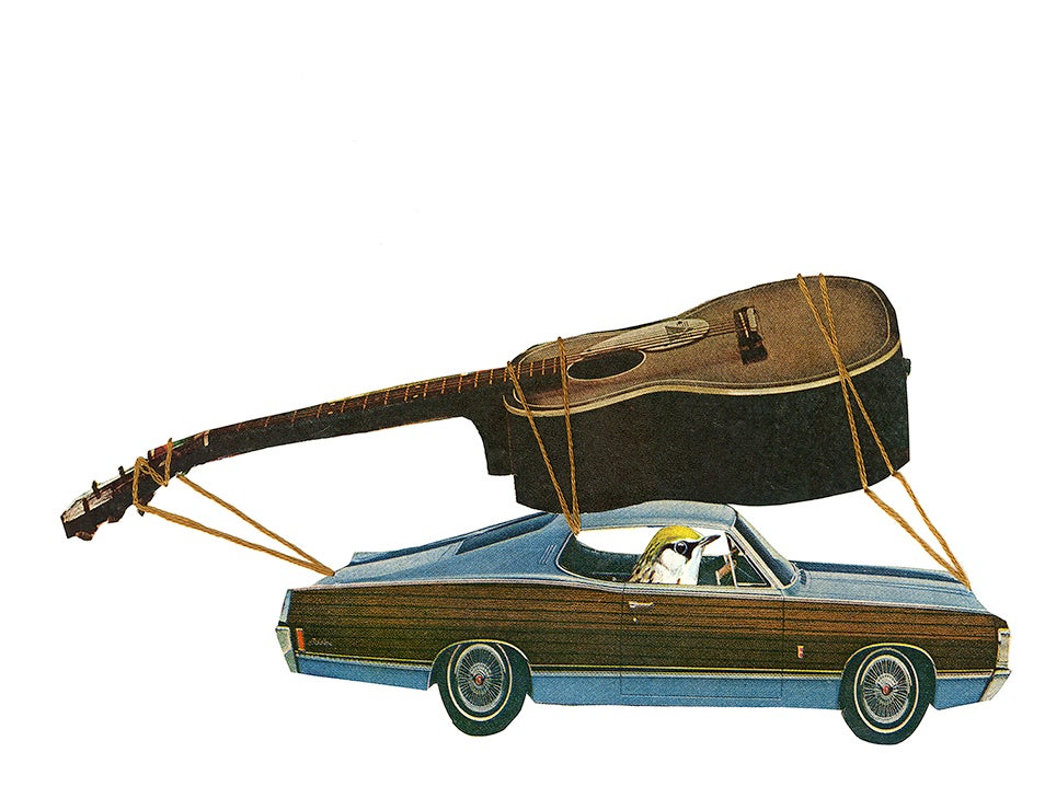 Image of Woody leaves the band and embarks on a solo career. Limited edition collage print.