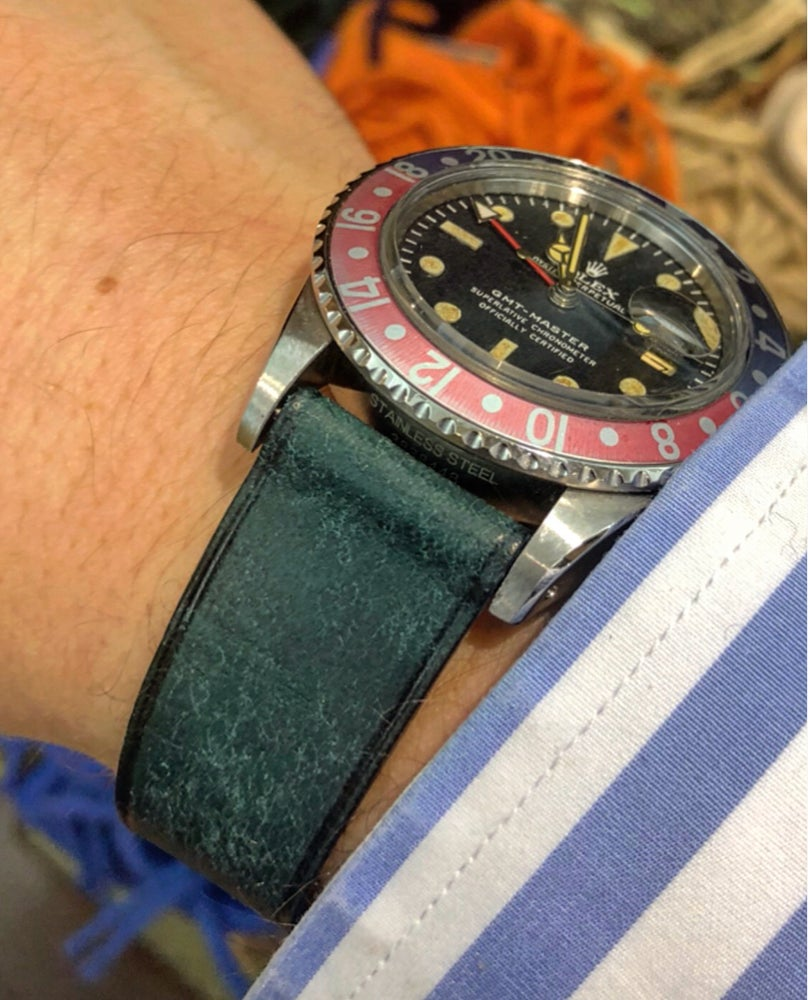 Image of SAMPLE SALE Distressed light blue calfskin watch strap