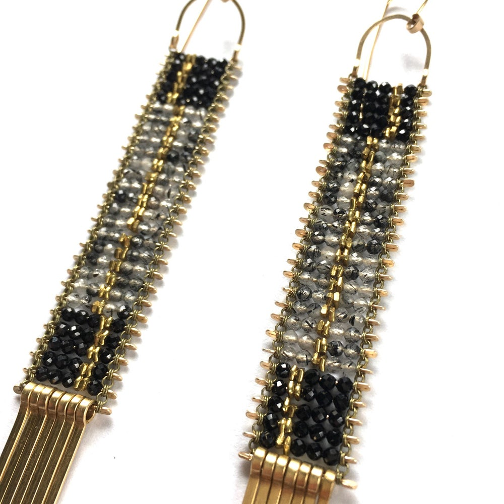 Image of Deco style Rutile Quartz and Spinel Earrings