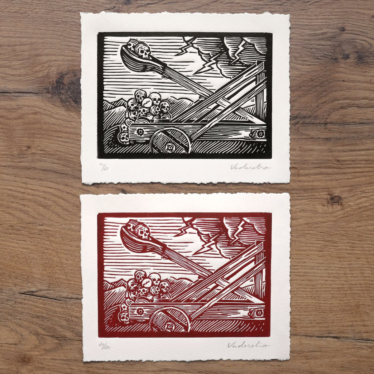 Image of A STORM OF&nbspSKULLS<br>(linocut print)