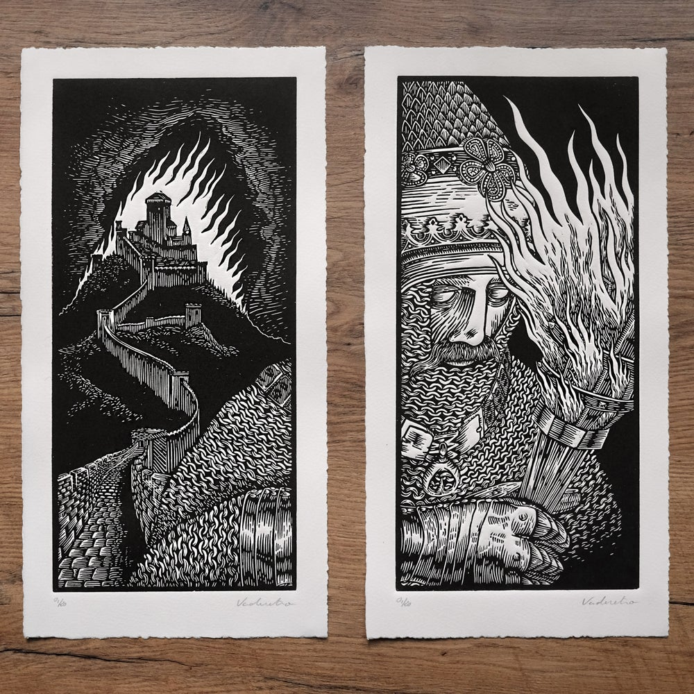 Image of GOOD OLD TIMES <br>DIPTYCH <br>(linocut print)